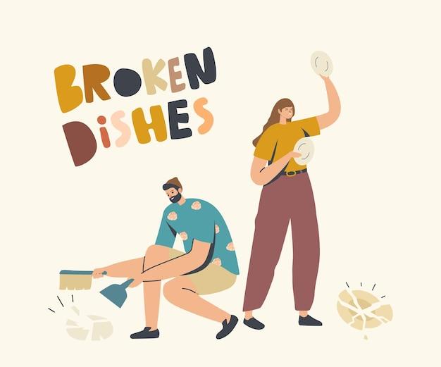 Mulher irritada quebrando pratos joga pratos no chão, homem varrendo peças. crise nas relações familiares, escândalo entre marido e mulher