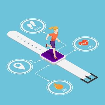 Mulher isométrica 3d plana rodando em smartwatch com monitores de frequência cardíaca, contando calorias, contagem de passos e função de tecnologia gps. tecnologia de dispositivo vestível e conceito de rastreador de aptidão.