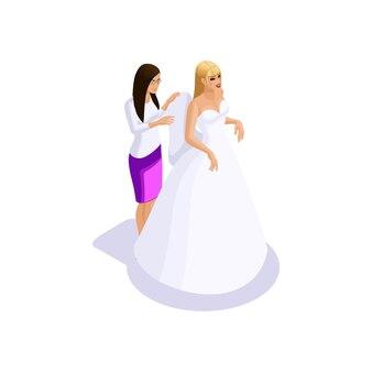 Mulher isométrica se preparando para o casamento, a noiva ao ajustar os vestidos no ateliê de costura para criar um vestido de noiva, a oficina de costura