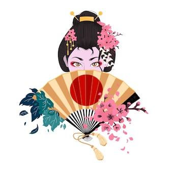 Mulher japonesa cobre o rosto com um leque. flor de sakura. ramo de cereja com flores e botão. pétalas caindo. ilustração em vetor cor plana dos desenhos animados isolada no sol vermelho.