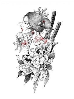 Mulher japonesa com tatuagem de cobra nas costas