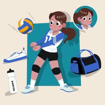 Mulher jogadora de vôlei atleta fofa personagem 2d pronta para animação completa com equipamentos esportivos