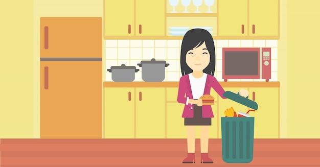 Mulher jogando comida lixo ilustração em vetor.