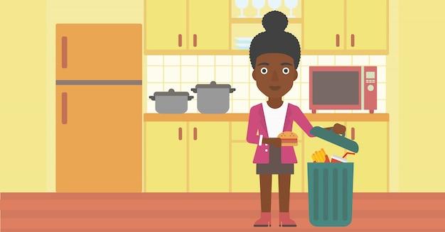 Mulher jogando comida lixo.
