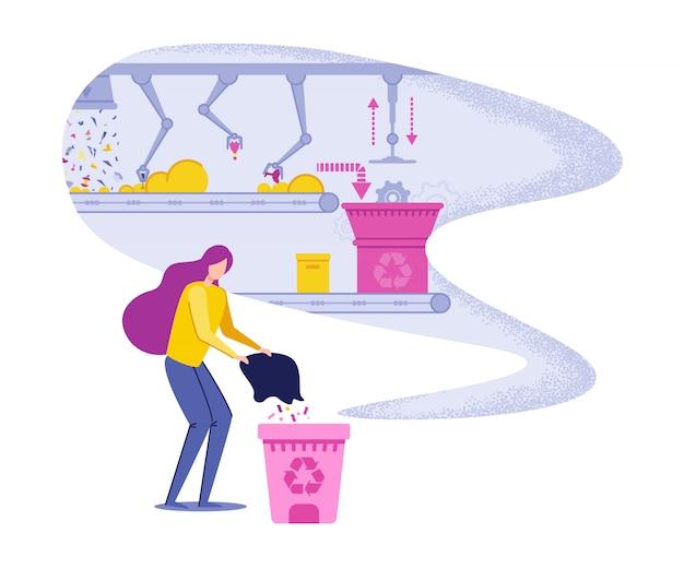 Mulher jogando lixo e apoiando a reciclagem.
