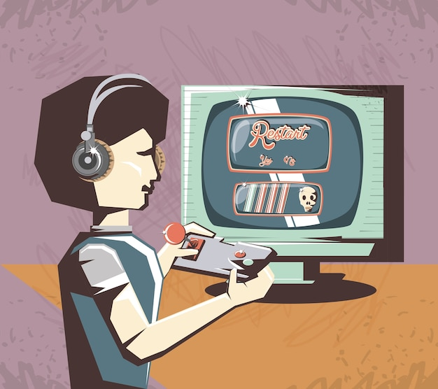 Mulher jogando vídeo game design ilustração vetorial retrô