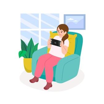 Mulher jogando videogame no sofá