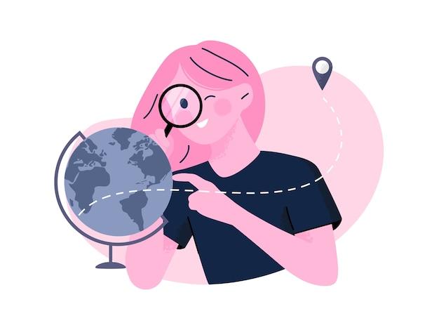 Mulher jovem a olhar para o globo terrestre com uma ilustração de lupa