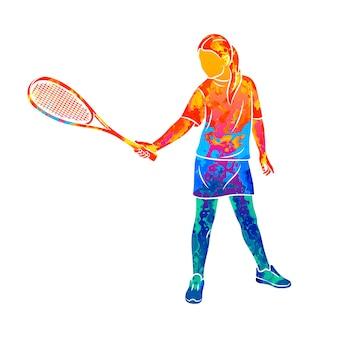 Mulher jovem abstrata faz um exercício com uma raquete na mão direita na abóbora de respingos de aquarelas. treinamento do jogo de squash. ilustração de tintas