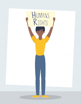 Mulher jovem afro com direitos humanos etiqueta design de ilustração vetorial personagem