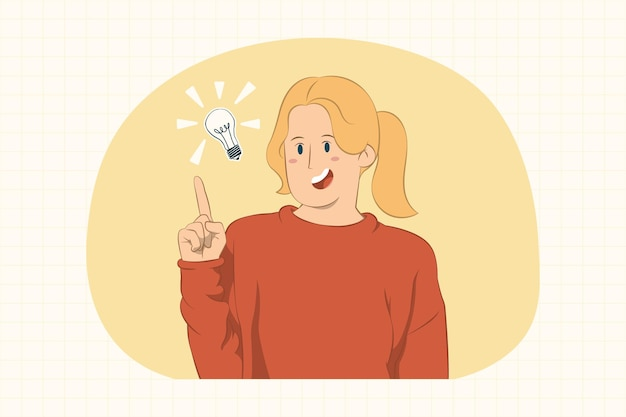 Mulher jovem animada em pé, segurando o dedo indicador para cima com uma ótima ideia nova
