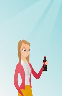 Mulher jovem, bebendo, soda