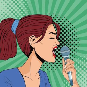 Mulher jovem cantando com microfone no estilo pop art de personagem