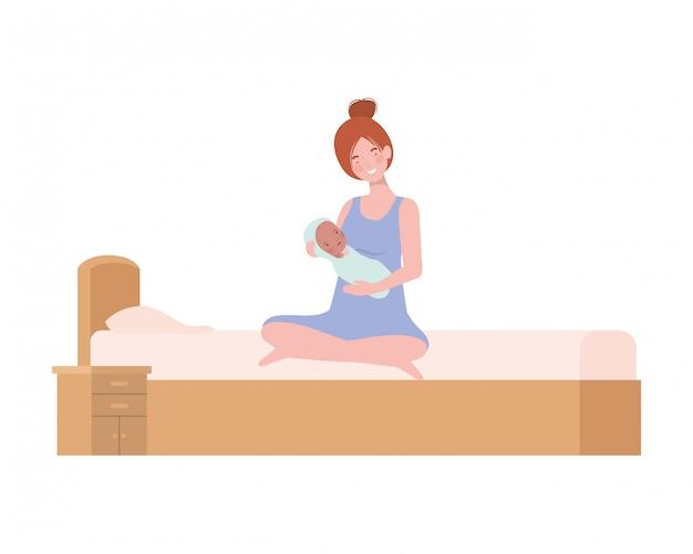 Mulher jovem, com, bebê recém-nascido, cama