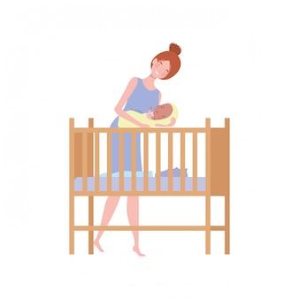 Mulher jovem, com, bebê recém-nascido