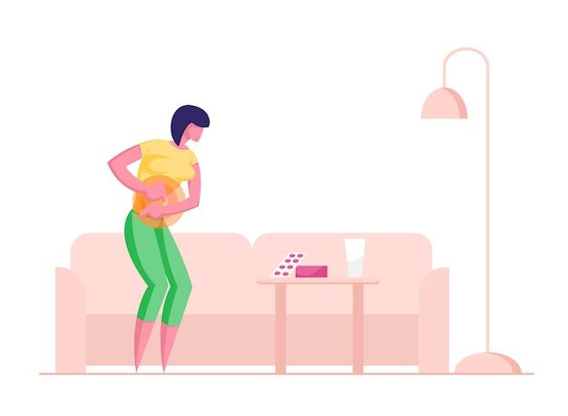 Mulher jovem com dor abdominal no estômago