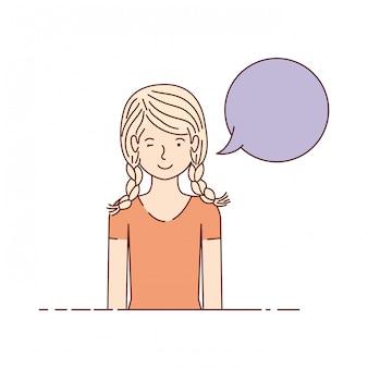 Mulher jovem, com, fala, bolha, avatar, personagem