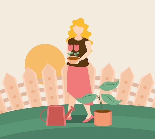 Mulher jovem com flores em vasos e regador em ilustração de jardinagem no quintal