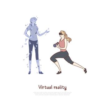 Mulher jovem com fone de ouvido vr fazendo exercícios