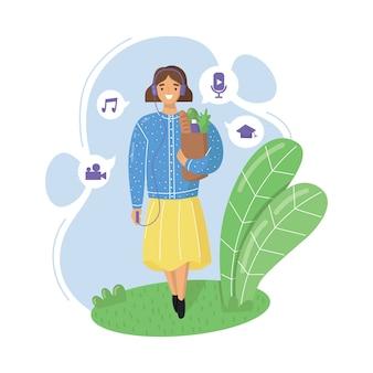 Mulher jovem com fones de ouvido vai às compras e ouve podcasts, streaming de rádio online, música ou audiolivros. ilustração plana.