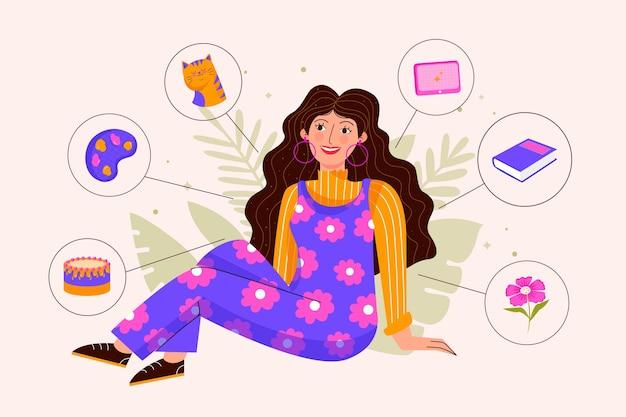 Mulher jovem com hobbies e interesses