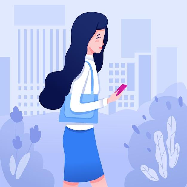 Mulher jovem com ilustração de telefone