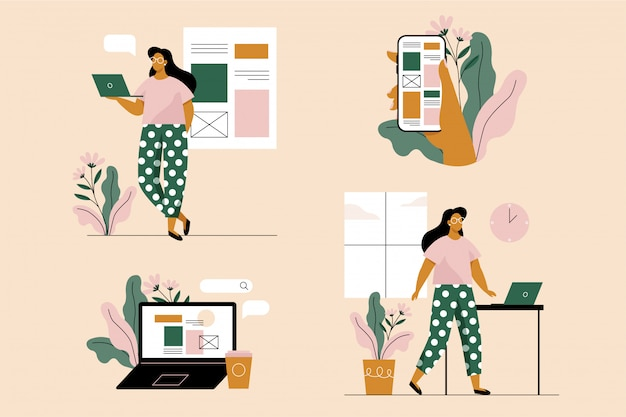 Mulher jovem com laptop e smartphone. conjunto de 4 ilustrações. ilustração em vetor em estilo simples.