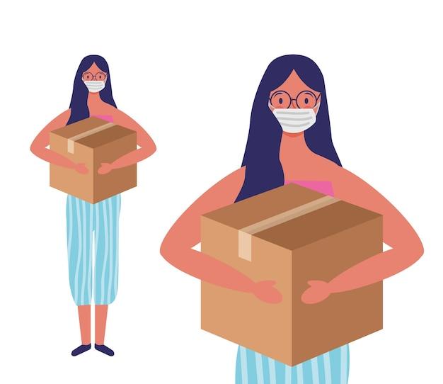 Mulher jovem com máscara facial e ilustração dos desenhos animados da caixa de doação