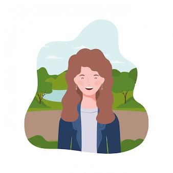 Mulher jovem, com, paisagem