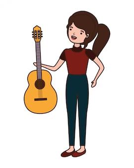 Mulher jovem, com, personagem violão