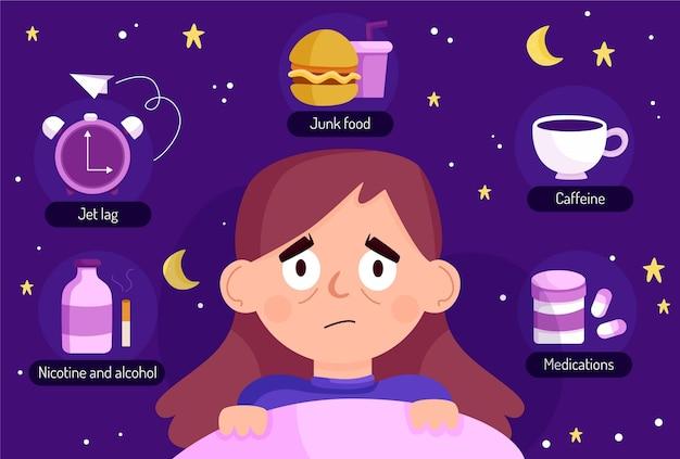 Mulher jovem com problemas de sono e suas causas