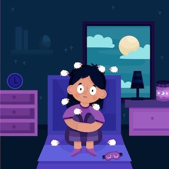 Mulher jovem com problemas para dormir