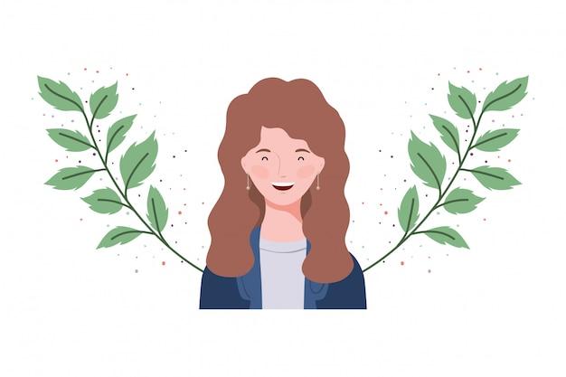 Mulher jovem, com, ramos, e, folhas