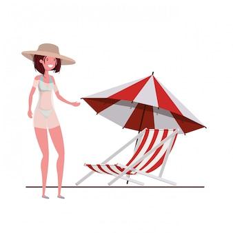 Mulher jovem, com, swimsuit, branco
