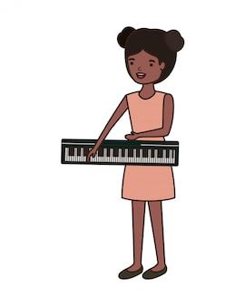 Mulher jovem, com, teclado piano, personagem