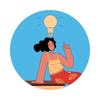 Mulher jovem com uma lâmpada na cabeça. uma ideia surgiu. estilo simples dos desenhos animados. ilustração