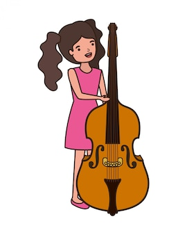 Mulher jovem, com, violino, personagem