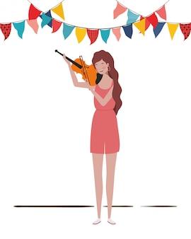 Mulher jovem, com, violino