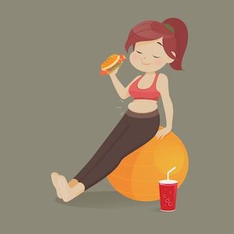 Mulher jovem, comer, um, pedaço, de, rapidamente, alimento