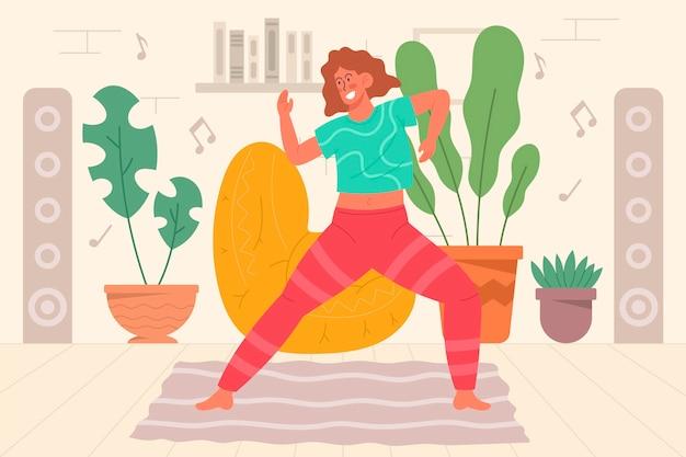 Mulher jovem dançando fitness em casa ilustrada