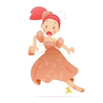 Mulher jovem de desenho animado em um vestido laranja com um tornozelo ferido durante a execução. ilustração em vetor e design de personagens de desenhos animados.