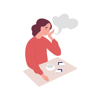 Mulher jovem deprimida fumando cigarros. conceito de tabagismo, mau hábito, comportamento negativo. doença mental, problema de comportamento, condição psiquiátrica. ilustração em vetor plana dos desenhos animados.