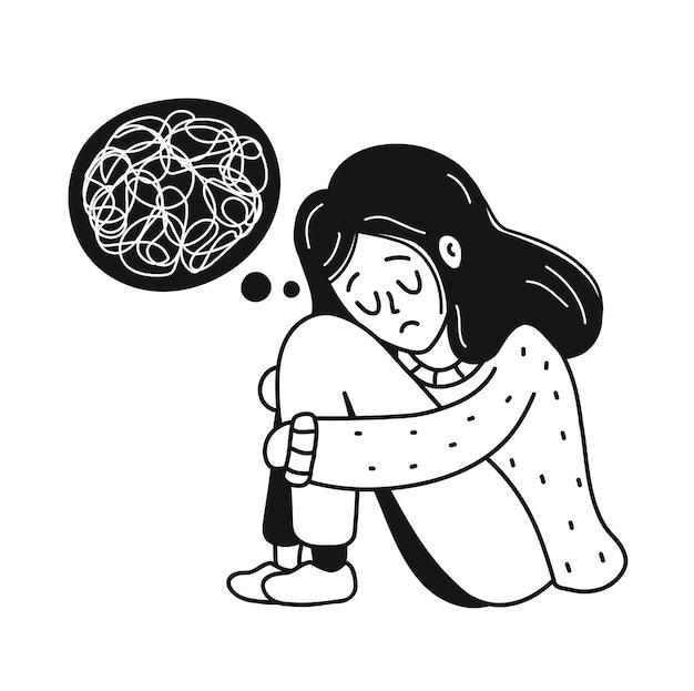 Mulher jovem deprimida triste, infeliz, com um emaranhado de pensamentos. psicologia, depressão, mau humor, conceito de estresse. vector cartoon doodle ícone de ilustração de personagem desenhada de mão. isolado em fundo branco