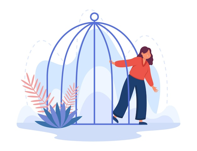 Mulher jovem desenho animado saindo da gaiola