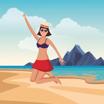 Mulher jovem, desfrutando, verão