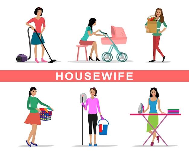 Mulher jovem dona de casa definida fazendo ilustração de trabalhos domésticos