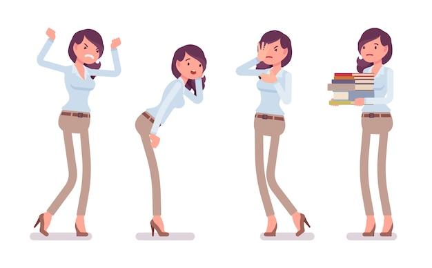 Mulher jovem e atraente infeliz em camisa abotoada e calças de algodão magras de camelo, emoções negativas. tendência de workwear elegante de negócios e moda da cidade de escritório. ilustração dos desenhos animados do estilo