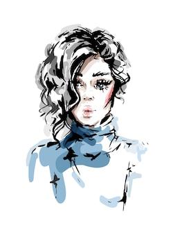 Mulher jovem e bonita com cabelo loiro encaracolado.