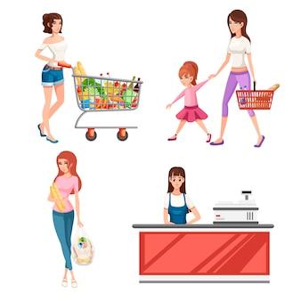 Mulher jovem e bonita com carrinho de compras cheio de pacotes com legumes e frutas.