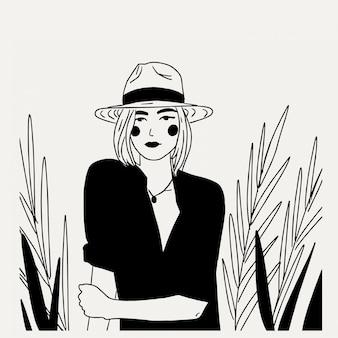 Mulher jovem e bonita com chapéu e blusas minimalismo preto e branco ilustração linha arte